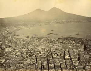 Italy Palermo Cathedral & Naples Panorama 2 Old Photos Front/Back 1885