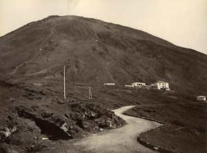 Italy Pompeii Panorama & Vesuvio Funicular 2 Old Photos Front/Back 1885