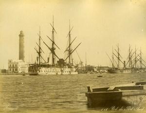 Egypt Port Said & Alexandria Harbour 2 Olds Photos Zangaki Front/Back 1885