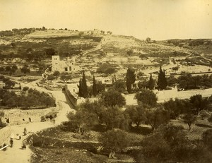 Jerusalem Mount of Olives & Bethleem Cave 2 Old Photos Front/Back 1885