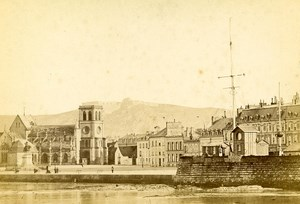 France Cherbourg Panorama Port Old Cabinet Photo Rideau 1875