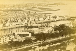 France Cherbourg Port Old Cabinet Photo Rideau 1875