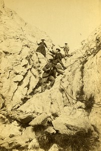 France Alps Chamonix Climbing Chimney passage Old Cabinet Photo Charnaux 1875