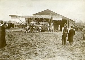 France Early Aviation Assembly of Plane Paulhan Old Photo Branger 1910
