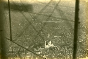 France WWI over the Sacre Coeur Fauvet on Farman Plane Old Aerial Photo 1916