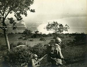 France WWI First World War Learning Machine Gun Old Photo 1918