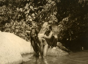 Vietnam Krong Kno Area Everyday Life Scene Bath Old Photo 1937