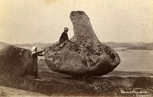 France Brittany Bretagne Tregastel Wobbly Rock Old Photo Fougere 1880