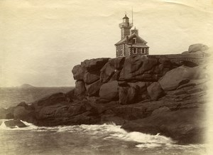 France Brittany Bretagne Ploumanach Lighthouse Old Photo Fougere 1880