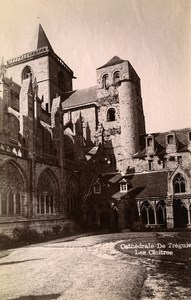 France Brittany Bretagne Treguier Cathedral Cloister Old Photo Fougere 1880