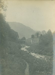 France Pyrenees near Cauterets River Bridge Old Amateur Photo Scrive 1900