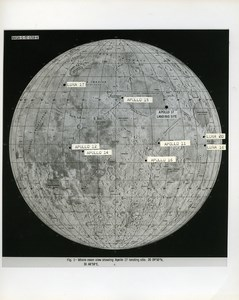 USA Space Moon Lunar Landing Locations of Apollo Missions old Photo Nasa 1972