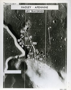 USA Space Rocket Apollo 15 Moon Landing Area old Photo Nasa 1971