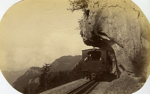 Switzerland Railway Train of Brunig pass Mountain old Albumen Photo 1880