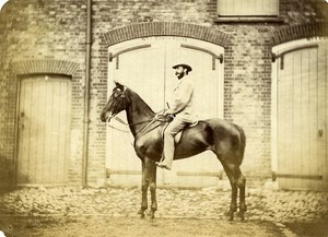 United Kingdom Elegant Man Horse Rider Equestrian old Albumen Photo 1870
