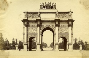 France Paris Place of Carroussel Triomphal Arch old Albumen Photo Champagne 1880