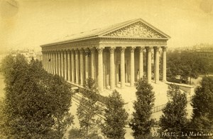 France Paris La Madeleine Church old Albumen Photo Champagne 1880