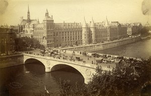 France Paris Pont au Change & Palais Royal old Albumen Photo Champagne 1880