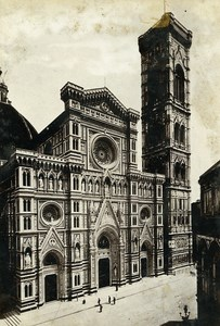 Italy Firenze Florence Cathedral Façade old Cabinet Photo Apollony 1880