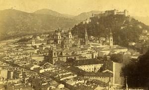 Austria Salzburg Monchsberg Panorama Old Cabinet Photo Wurthle & Sohn 1890