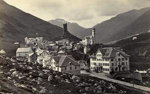Switzerland St Gothard Road Hotel Meyerhof Old Photo Cabinet Ad. Braun 1870