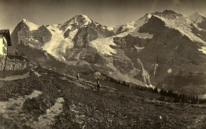 Switzerland Alps Mounts Eiger Jungfrau panorama Old Photo Cabinet Ad. Braun 1870