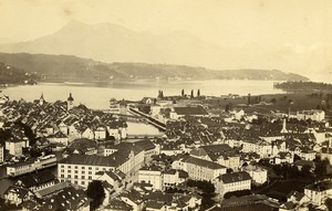 Switzerland Lucerne Luzern Panorama Old Photo Cabinet Garcin 1870