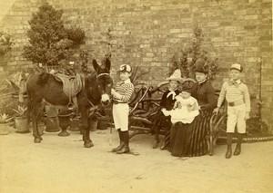 United Kingdom Northampton Family Boy and Donkey Old Photo Cabinet Wright 1880