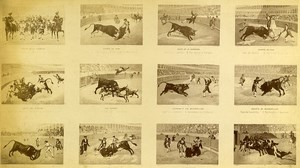 USA Bull Fight Scenes Corrida Old Photo Cabinet FE North 1870
