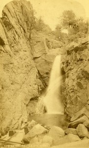USA Colorado Ute Pass Rainbow Falls Old Photo Cabinet WH Jackson 1870