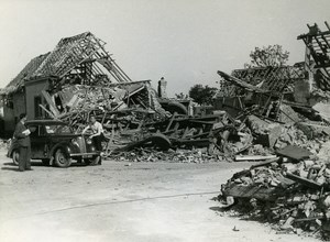 France Dunkerque Dunkirk & Around after WWII Car in Ruins Old Photo 1946