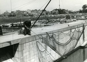 France Dunkerque Dunkirk & Around after WWII Fisherman Net Old Photo 1946