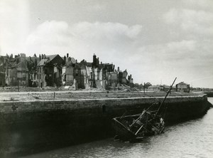 France Dunkerque Dunkirk & Around after WWII House Ruins Sunken Boat Photo 1946