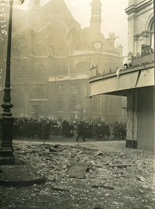 Paris Church Ste Eustache WWI Aerial Raid by Aircraft Gotha Photo Branger 1918