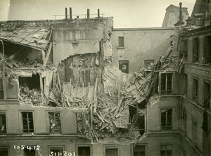 Paris Street Laffitte WWI Aerial Raid by Aircraft Gotha Old Photo Branger 1918