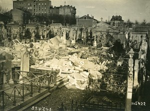 Paris Cemetery WWI Aerial Raid by Aircraft Gotha Old Photo Branger 1918