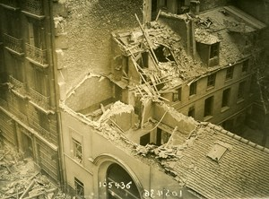 Paris Street Mezieres WWI Aerial Raid by Aircraft Gotha Old Photo Branger 1918