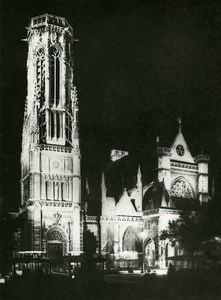 France Paris by Night Saint Germain l Auxerrois Old Photo Borremans 1937