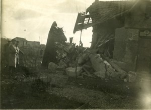 France WWI Military Airplane Wreck Crash Old Amateur Photo 1918