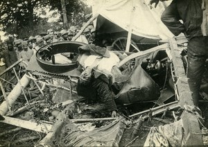 France WWI Military Airplane Crash Dead Pilot Macabre Old Photo 1918