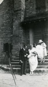 France Wedding Ceremony & Darkroom Camera Church Photo Old Snapshot Photo 1935