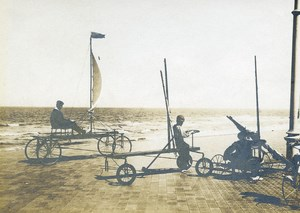 Belgium Middelkerke Race Sand Yacht on the Pier Old Photo 1900