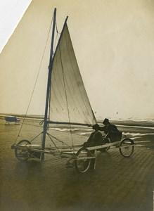 Belgium Middelkerke Race Sand Yacht on the Pier Old Photo 1900
