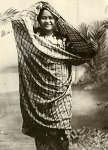 Singapore Woman in Local Clothing Fashion Old Amateur Photo 1930