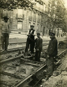 France Paris Railways Highways Workers Tracks Old Photo 1900
