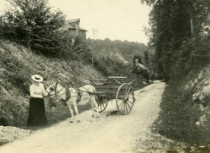 France around Paris Lady and Donkey Cab Promenade Old Photo 1900