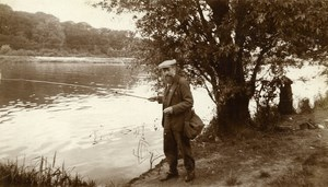 France Bearded Angler Fishing at the River Old Amateur Photo 1933
