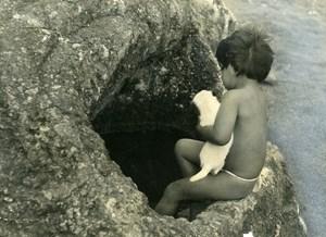 Chile Easter Island Rapa Nui Orongo Child Old Photo Maziere 1965