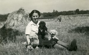 France Roubaix Lady and Poodles in Field Old Victor Vajda Photo 1930