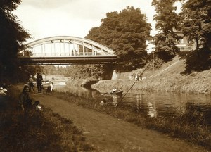 France Roubaix Canal Angler Fishing Bridge Old RPPC Victor Vajda Photo 1930